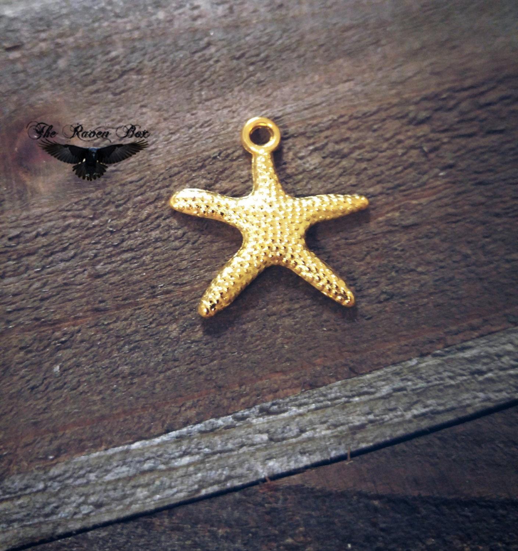 gold starfish charm shiny gold charm nautical charm sea