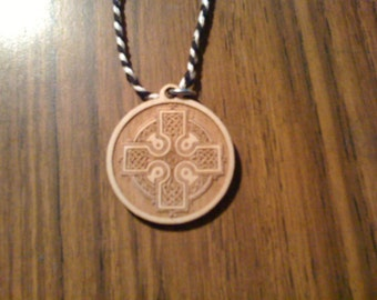 Celtic Cross Pendant on Braided Cord Necklace