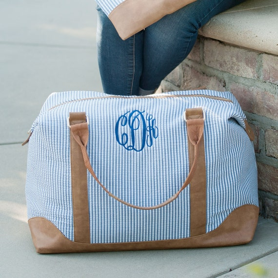 seersucker monogram weekender bag