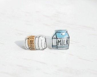 Coffee & milk earrings, coffee cup earrings, coffee cup studs, milk earrings, milk studs, coffee cup jewelry