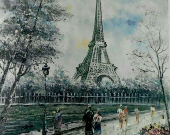 "16""X20"" Hand Painted Paris Eiffel Tower Oil Paiting Art on Canvas Wall Decor"