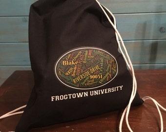 BLACK Frogtown University Drawstring Tote
