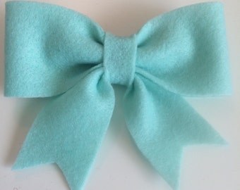 Light Teal Felt Bow (Large)