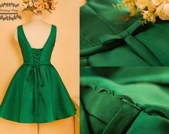 High Quality Satin Knee Length Vintage A line Dress