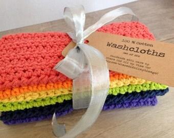 Six 100% Cotton Washcloths -- Rainbow Colors