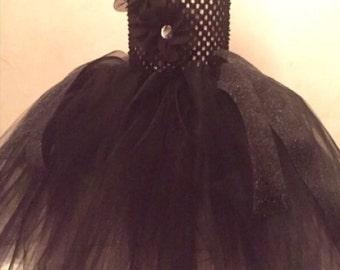 Black flower tutu dress