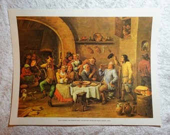 Original Color, David Teniers,  Fine Art Offset Lithograph, The Drinking King,  Ready To Ship,  Lithograph