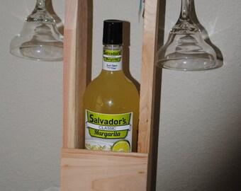 Handmade Wooden Margarita Carrier with Glasses