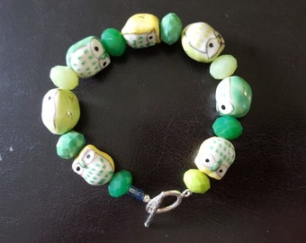 Shades of Grass Bracelet with Sterling Silver Toggle Clasp