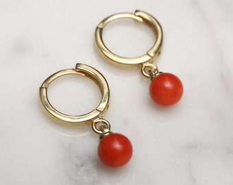14K Gold Plated Coral Red Drop Earrings