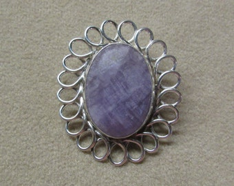 Gorgeous Amethyst large STERLING SILVER pin/pendant with an elegant loop design