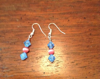 Blue and pink earrings