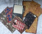 BUNDLE ANTIQUE PAGES..antiquarian book..marbled flyleaf..old notepad..vintage scrapbooking..art journal..craft supplies..handpainted card