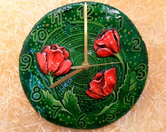"Wall Clock ""Poppies"""