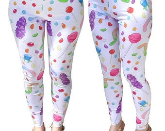 Candy Print Leggings Colorful Candies Leggings Candy Leggings Sweets Printed Leggings In Stock & MTO Sz Xs-5XL