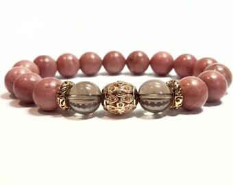 Rhodonite Bracelet Womens Beaded Bracelet Stretch Bracelet Gift for Her Pink Bracelet Rhodonite Jewelry