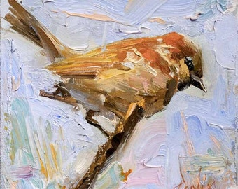 Wren Bird 6x6 Print on Watercolor Paper with Deckled Edge or Giclee