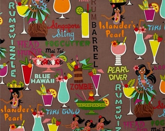 Alexander Henry Tiki Dreams Rum Swizzle in Neutral 100% Cotton Fabric by the yard