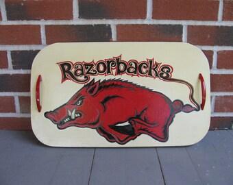 Arkansas Razorback Decorative Tray-Go hogs-Team sports Arkansas Decor-Go pigs