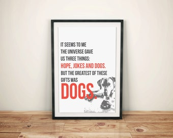 """Hope, Jokes and Dogs, Quote, Printable Poster, 11x14"""""""