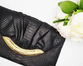 Python Clutch Black and gold