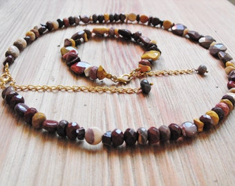 Mookaite Jasper Gemstone Necklace and Bracelet Set