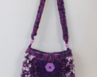 Bag Handbag Knitted Bag, shoulder bag, purple bag