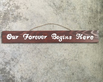 Our Forever Begins Here Sign
