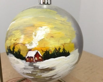 handpainted christmas ornament with hanger