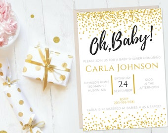 Oh Baby Printable Baby Shower Invitation, Gender Neutral Baby Shower Invitation, Gold Confetti Baby Shower Invitation, Printable Invitation