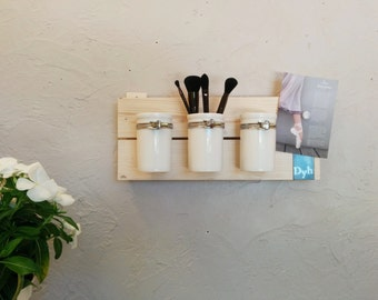 Storage bathroom, bathroom, makeup Organizer shelf, shelf wood metal, rack, decoration, pots, ceramic, design, House