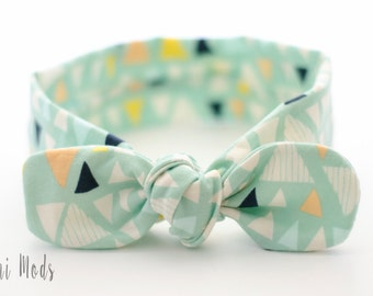 Mint Geometric Top Knot Headband / Baby Headband / Knot Baby Headwrap / Mint Headband / Tie knot Turban Headband / Baby Shower Gift