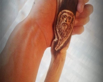 Hand Carved walking stick Wood Spirit