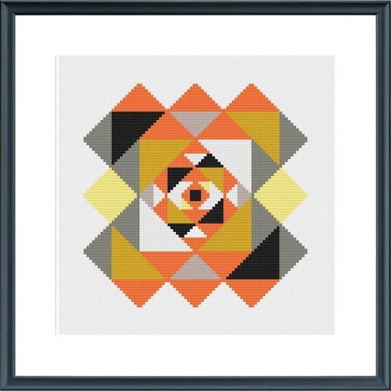 Retro geometric cross stitch pattern digital download
