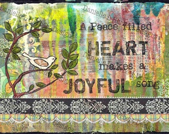 Mixed Media Collage Art Giclee Print - Joyful Song
