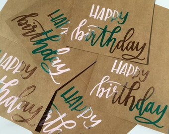 Set of 5 Embossed Handlettered Happy Birthday Cards, Customizable Stationery