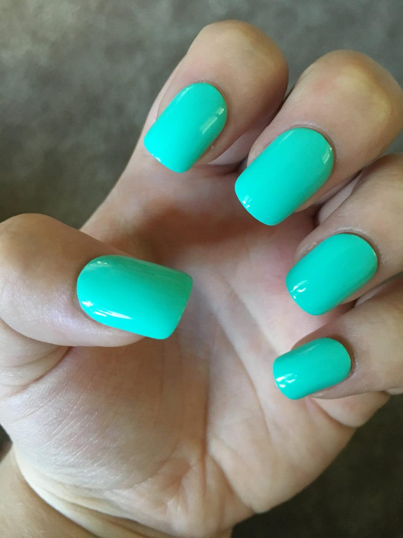 Aqua Blue Mint Press On Fake Nails Glue On Shiny