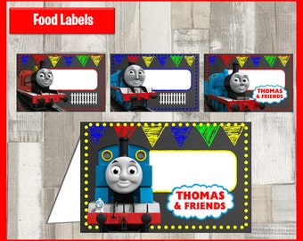 80% OFF SALE Thomas the Train Chalkboard Food Tent Cards instant download, Printable Thomas the Train Food Labels, Thomas the Train Party