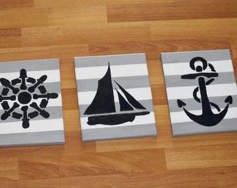 Nautical nursery room decor - nautical room decor -  nautical wall art - anchor painting - sailboat painting - sailboat room decor