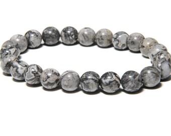 Silver Crazy Lace Agate Bead Bracelet | Spiritual Bracelet