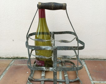 ANTIQUE VINTAGE FRENCH Handmade Metal 4 zinc Bottle Wine Carrier Basket 6