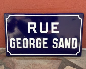 Old French Street Enameled Sign Plaque - vintage george sand