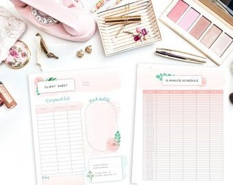 Printable Freelance Writer Pack - 4 Planning Sheets- Get Productive - Simple Flower