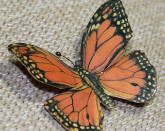 Vintage Butterfly Magnet Mixed Media Assemblage Art
