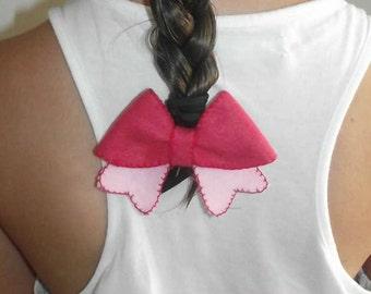 Barrette felt butterfly knot