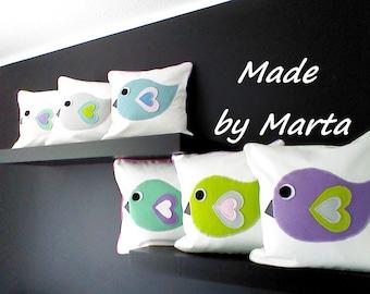 Little bird pillow/ Childrens pillow /Kid's room decor/ Nursery decor/ Baby girl