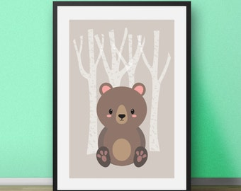 Nursery Art Nursery Decor Nursery Wall Art Wall Decor Minimalist Nursery Print Woodland Nursery Modern Art Scandinavian Print Wall Prints