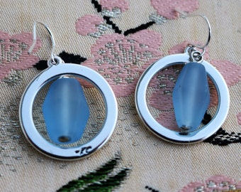 Kenneth Cole Earrings/Silvertone Open Circle/Dangle Pale Blue Frosted Bead