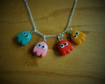 Inky, Pinky, Blinky, and Clyde; PAC-MAN ghost necklace. Retro geek