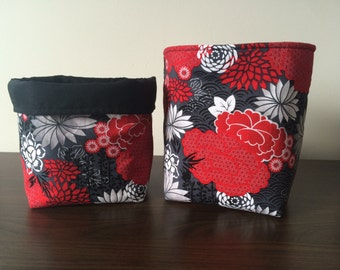 Small fabric baskets, grey and red flowers
